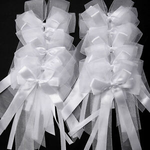 10 WHITE PEW BOWS SATIN Organza WEDDING CHURCH CHAIR PARTY DECORATIONS