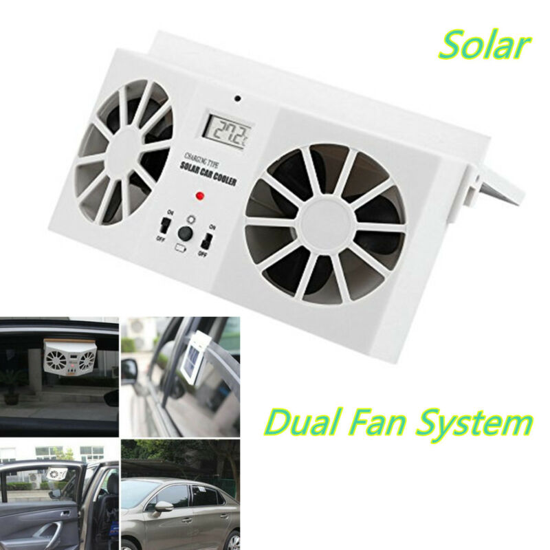 Ivory 2 Head Fan Car Windshield Window Air Vent Cool Cooler Dual Fan Universal