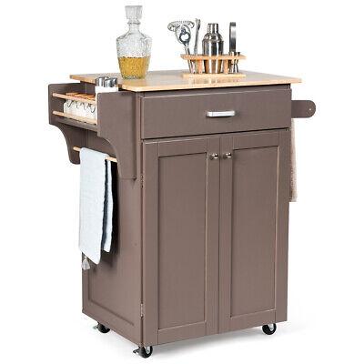Rolling Kitchen Island Utility Kitchen Cart Storage Cabinet w/ Spice Rack Brown