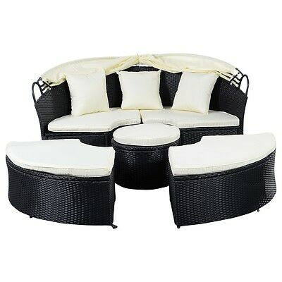 Outdoor Patio Furniture Sofa Round Retractable Canopy Daybed