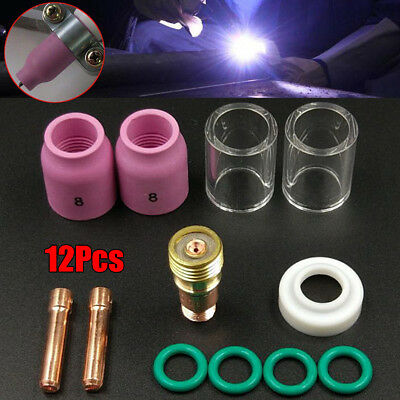 12x Tig Welding Torch Stubby Gas Lens 10 Pyrex Glass Cup Kit For Wp-171826