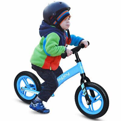"Kids 12"" Balance Bike No-Pedal Adjustable Learn To Ride Pre Bike Blue Christmas"