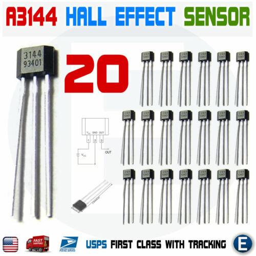 20pcs A3144 A3144E OH3144E A1044 Hall Effect Magnetic Sensor Switch Arduino