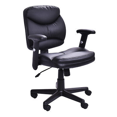 Executive Pu Leather Office Chair Mid-back Modern Computer Desk Task Black New