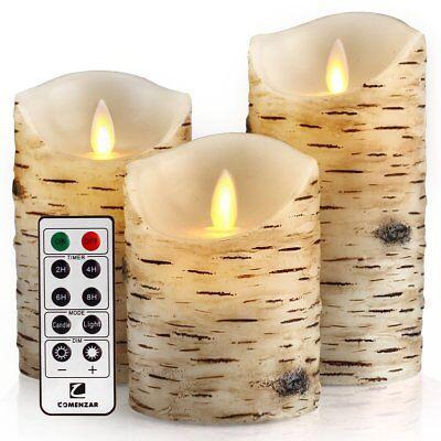 3 Luminara Flickering Moving Wick Flameless Pillar Candle Led Remote Candles Set ()