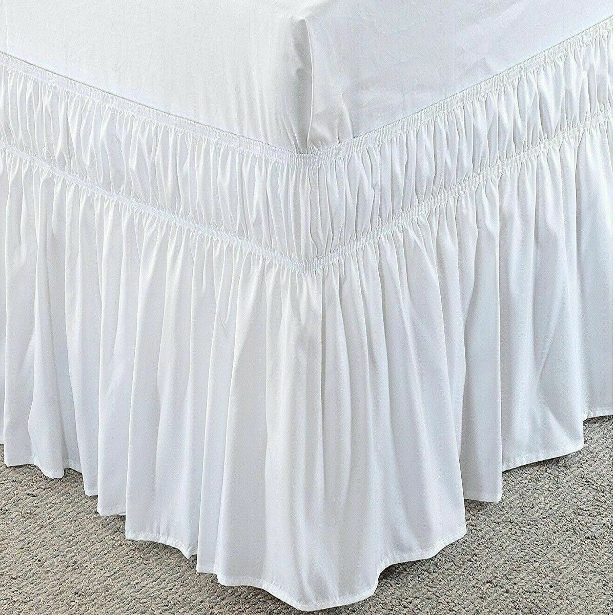 Solid White 400 TC Cotton Wrap Around Ruffle Bed Skirt All S