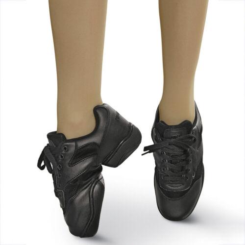 Revolution Dancewear #901 Premium Black Leather Dance Shoes Size 5AD M