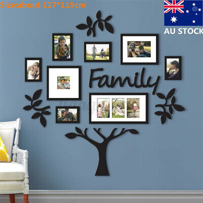 Home Decoration - AU 117*119cm Large Family Tree Photo Frame Collage Wall Mount Home Decor Wedding