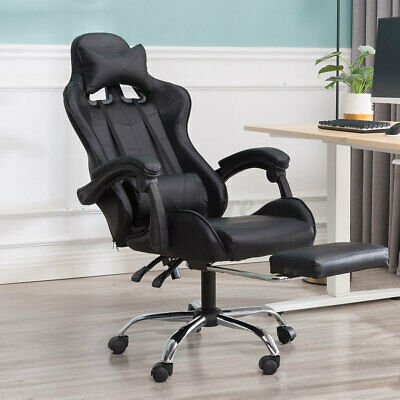 Black Leather Home Office Gaming Chair High Back Swivel Recliner Seat Footrest