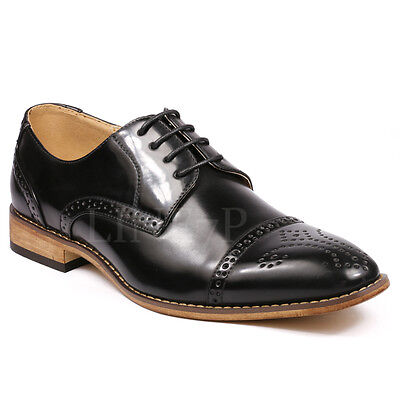Black Perforated Cap Toe Lace Up Oxford Dress Shoes Lace Oxford Cap
