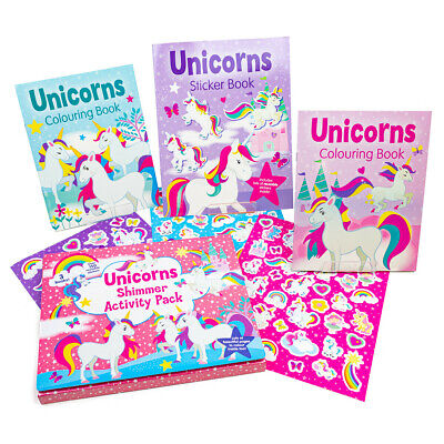 Unicorns Shimmer Activity Pack Kids Colouring Books & Stickers Set