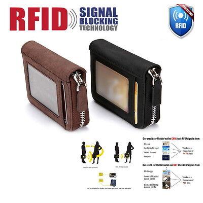 RFID Blocking Leather Wallet Credit Card Holder Zipper Pocket Thin Unisex US