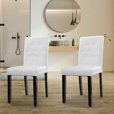 2/4/6Pcs Dining Room Chair Kitchen Chairs Set Armless Pine Legs White PU Leather