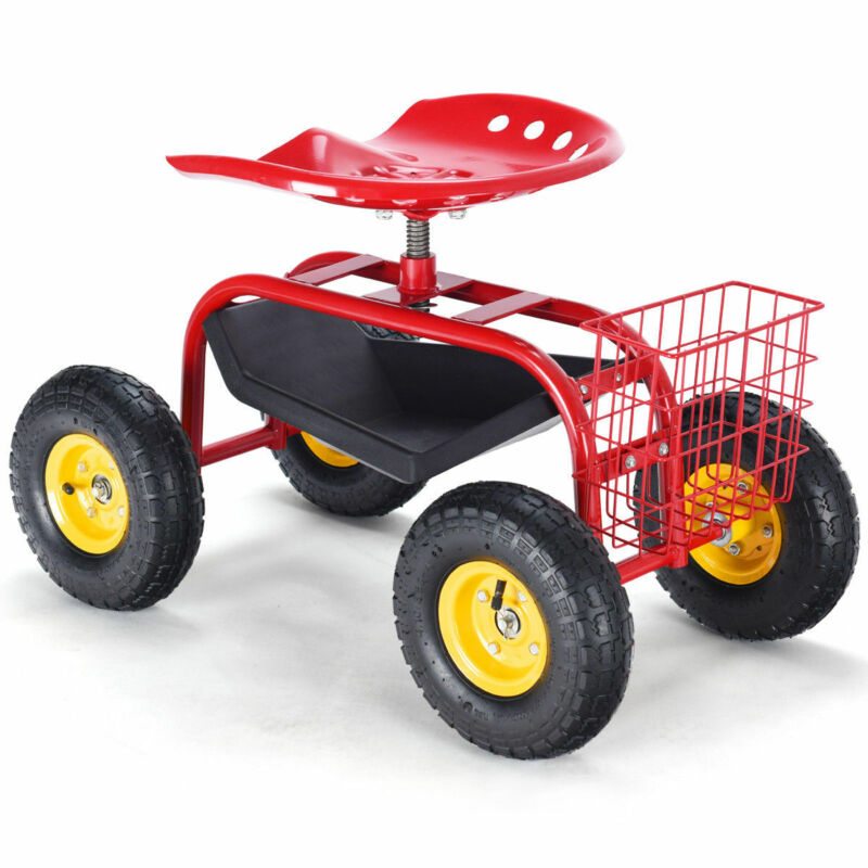 Costway Rolling Garden Cart w/Tool Tray Utility Work Seat Gardening Planting Red