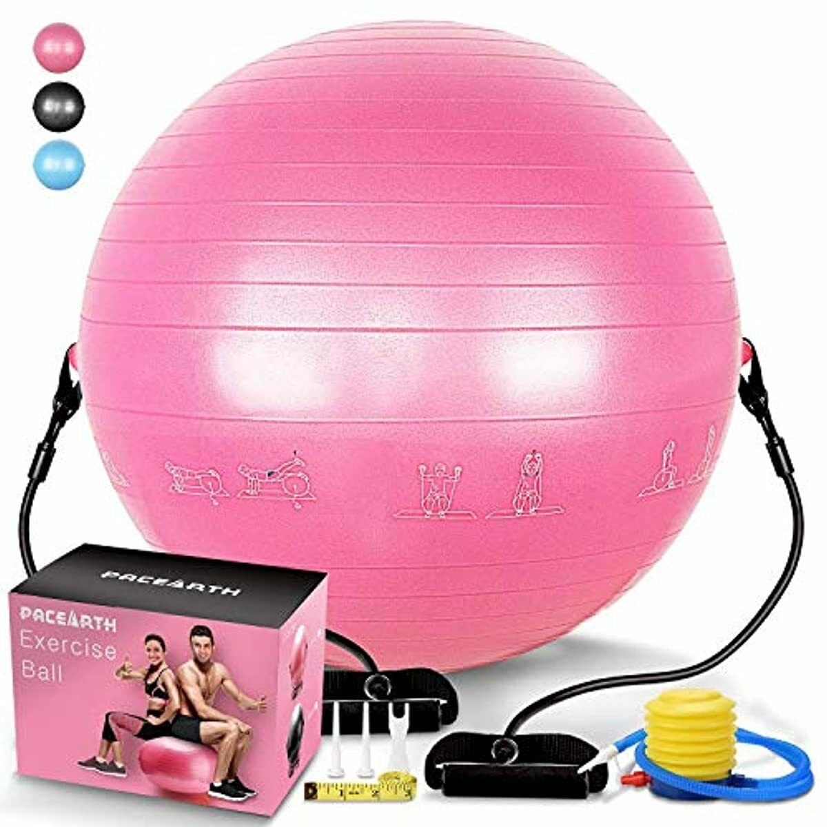 Heavy Duty Exercise Ball Thick Yoga Ball Chair + Resistance