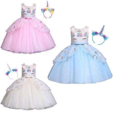 Unicorn Birthday Outfits Carnival Fancy Dress Costume Set for Kid Girl Halloween