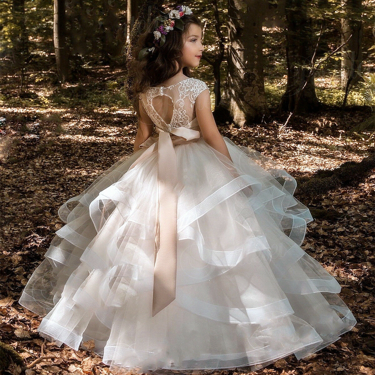 Flower Girl Dress Girl Communion Party Prom Princess Pageant Bridesmaid Wedding