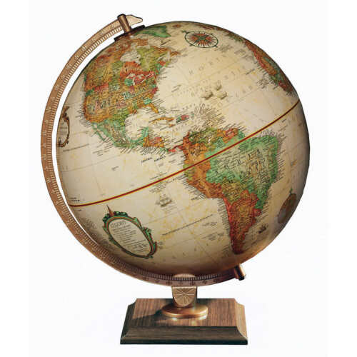 "Replogle 12"" Antique Colored Globe w/Walnut Base"