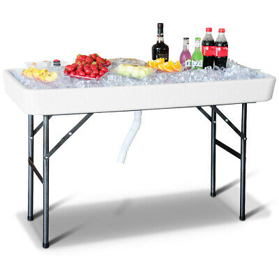 4 Foot Party Ice Cooler Folding Table Plastic with Matching