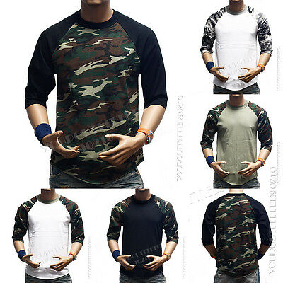 (Men 3/4 Sleeve Camo Baseball T-Shirt Raglan Sports Fashion Crew Neck Casual Tee )