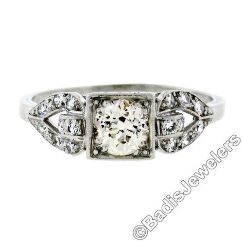 Antique Art Deco Platinum 1.03ctw European Cut Diamond Buckle Engagement Ring