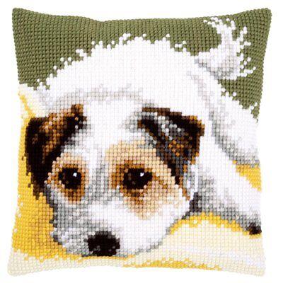 Jack Russell Terrier Puppy Chunky Cross Stitch Cushion Front Kit 40x40cm Vervaco segunda mano  Embacar hacia Spain