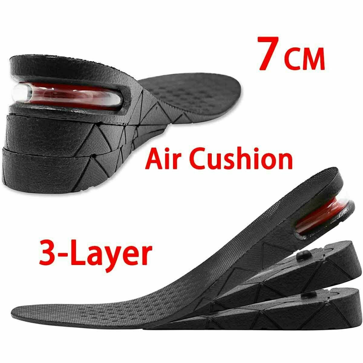 3 Layer Unisex Invisible Height Increase Insoles Heel Lift Taller Shoe Inserts Clothing & Shoe Care