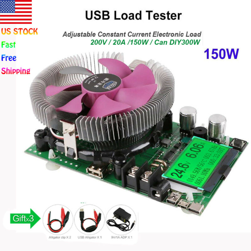 150W 200V 20A Constant Current Electronic USB Load Battery Capacity Tester US