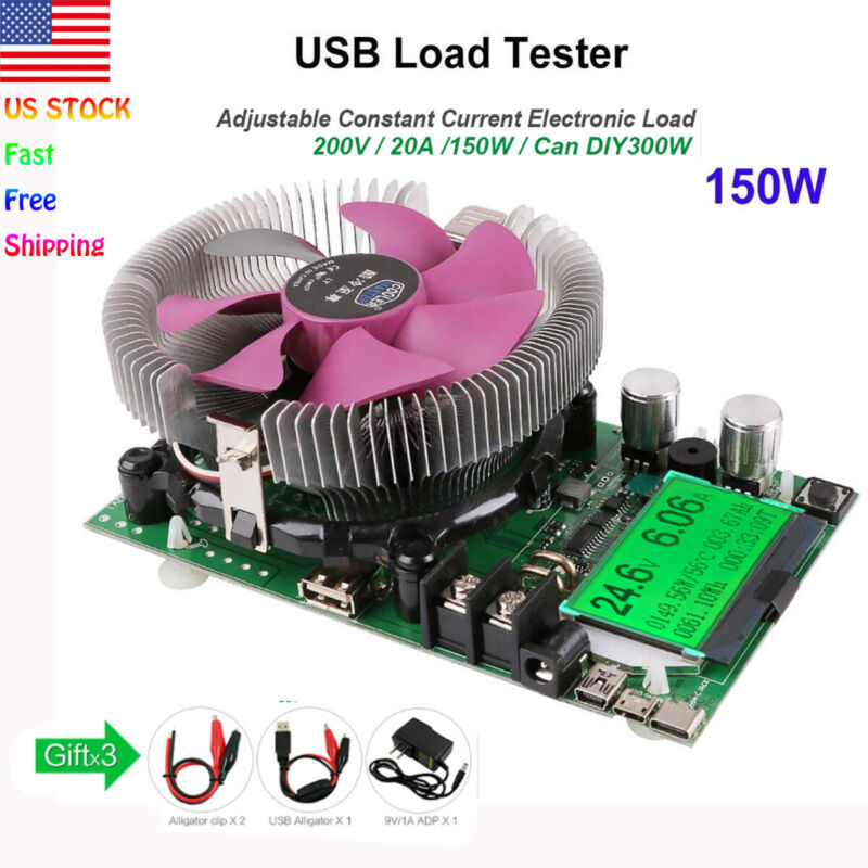 USB Constant Current Electronic Load Battery Capacity Tester 150W 200V 20A USA