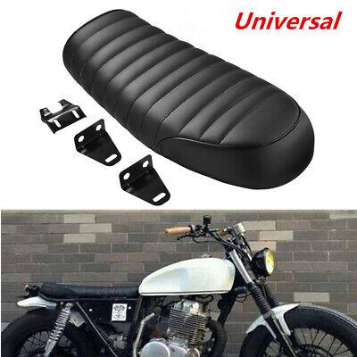 Universal Leather Motorcycle Cafe Racer Seat Flat Saddle For Honda Suzuki Yamaha