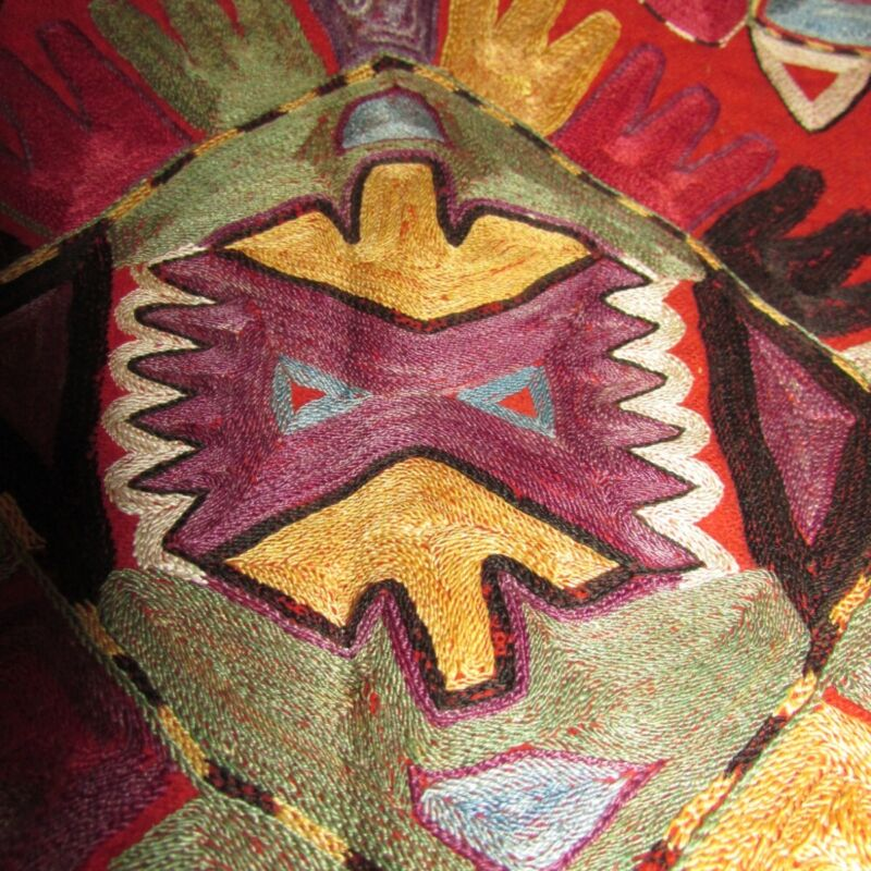 Suzani ? textile with fine embroidery  bag  13x20