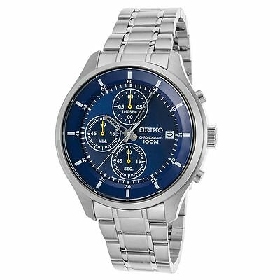 Seiko SKS537P1 Men's Blue Dial Steel Bracelet Chrono Date Watch