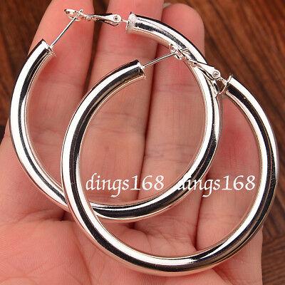 925 Sterling Silver Hypo-allergenic Tube Hoop Earrings 35mm/50/60/70/80/90mm -