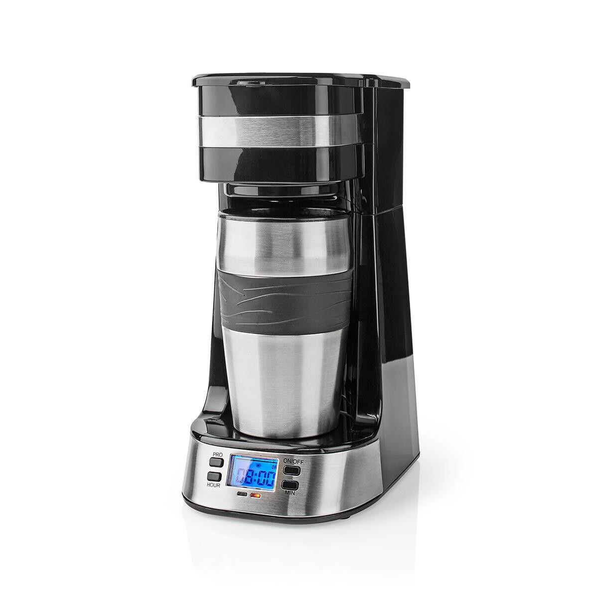 1-Tassen-Kaffeemaschine mit Timer Edelstahl silber + schwarz Thermobecher Thermo