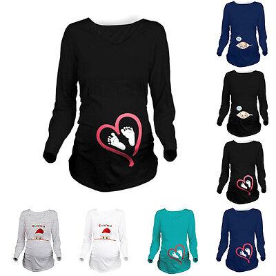 Women Maternity Clothes Funny Print Pregnant T-Shirt Tee Nursing Tops Blouse