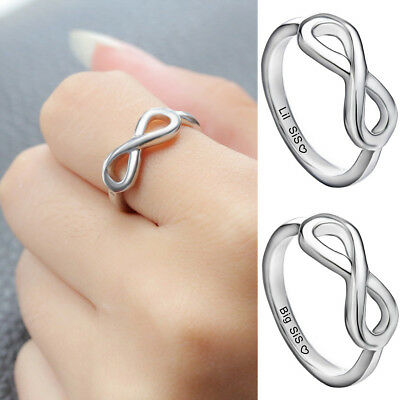 2PC/Set  Engraved Big Lil Sis Rings For Sisters Women Girl Best Friends (Infinity Ring Engraved Best Friends)