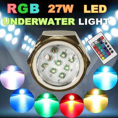 RGB LED Drain Plug Light IP68 Boat Underwater Remote Control Diving Fishing Lamp
