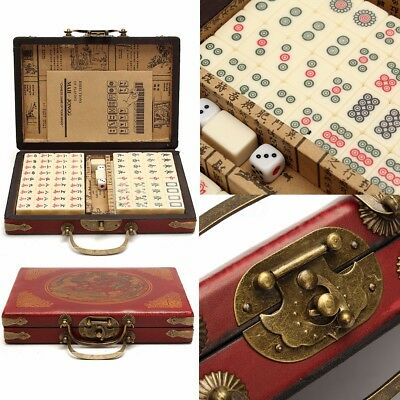 US 144 Tiles Chinese Mah-Jong Portable Vintage Mahjong Rare Set With Leather Box