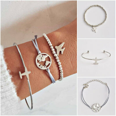 - 3Pcs/Set Airplane Hollow Map Beads Chain Open Cuff Bracelet For Women Jewelry