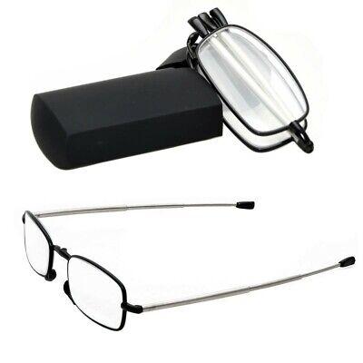 Folding Reading Glasses Metal Frames +2.00 in Black Hard Case New (Folding Glasses Frames)