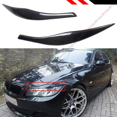 FOR 2006-12 BMW E90 E91 3 SERIES M3 CARBON FIBER HEADLIGHT EYELID EYEBROW COVER