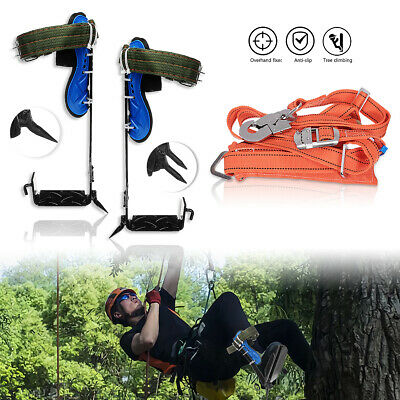 Tree Climbing Spike Spurs Safety Belt Straps Rope Adjustable Stainless Steel
