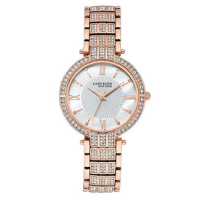 Anne Klein New York Swarovski Crystal Rose Gold Tone Women's Watch - New!