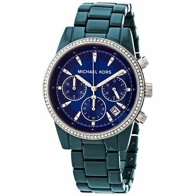 NWT Michael Kors Women's Chronograph Ritz Teal Blue Dial Watch MK6722 $275