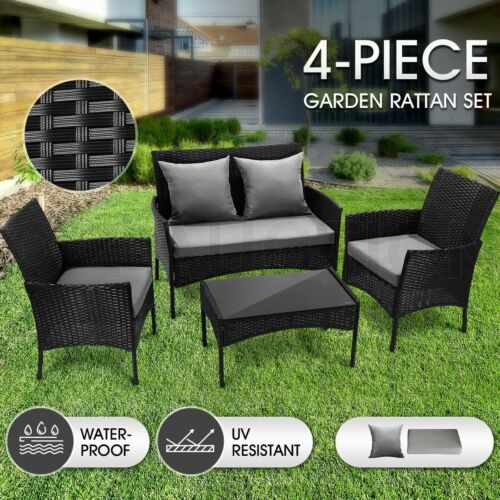 Garden Furniture - Outdoor Furniture Sofa Lounge Setting Garden Patio Rattan Chairs Table Set 4 PCS