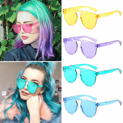 Women Square Sunglasses Without Frame Trendy Colorful Girl Sun Glasses Cute (Sunglasses Without Sun)