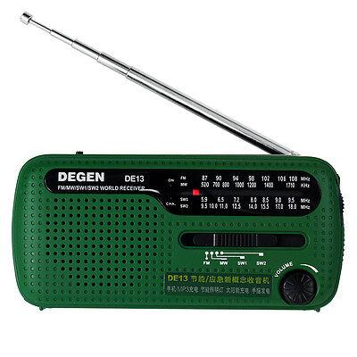 Hot!!! DEGEN DE13 FM MW SW Crank Dynamo Solar Emergency Radio World Receiver LED segunda mano  Embacar hacia Argentina