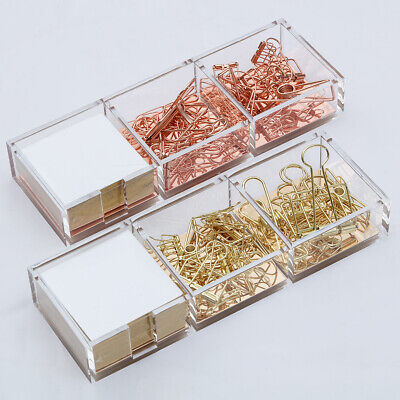 Acrylic Clear Goldrose Gold Paper Clips Holder With Cube Memo Pad 320 Sheets