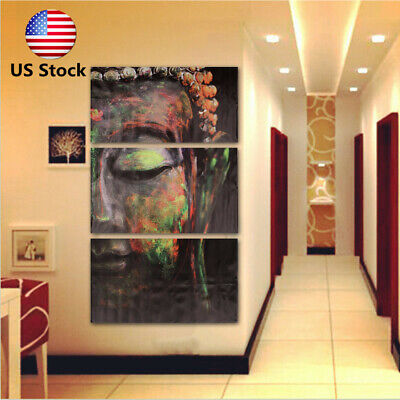 US 3PCS Buddha Figure Painting Picture Canvas Oil Print Wall Hanging Home Decor