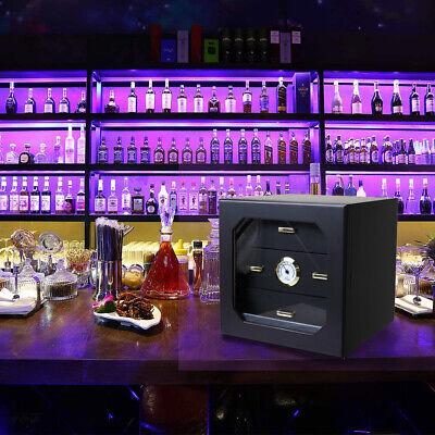 Lockable 70-80 Cigar Humidor Storage Box Desktop Glasstop Humidifier Hygrometer